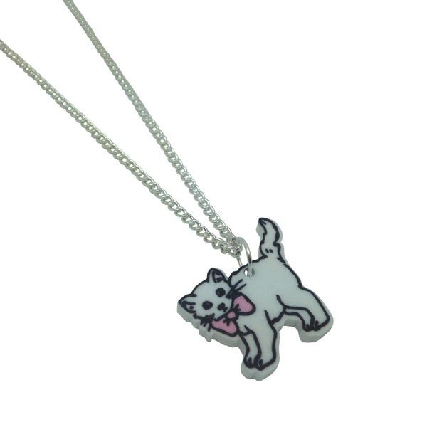 Cute kitty cat Printed acrylic laser cut illustration Necklace from LA LA LAND