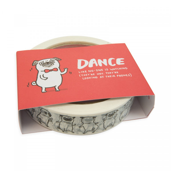 DANCING PUG parcel tape by Gemma Correll from LA LA LAND