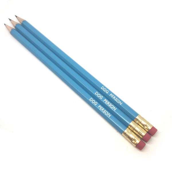 DOG PERSON slogan text quote hand-stamped hot foil pencils by POPCULT from LA LA LAND.JPG