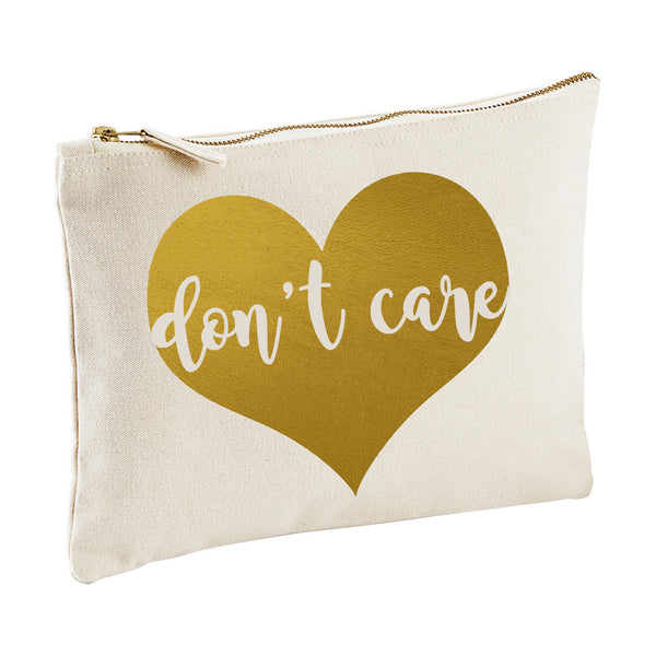 DON'T CARE canvas clutch zipper pouch bag from LA LA LAND