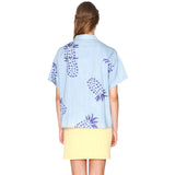 Denim short sleeved shirt with pineapple print by PEPA LOVES from LA LA LAND