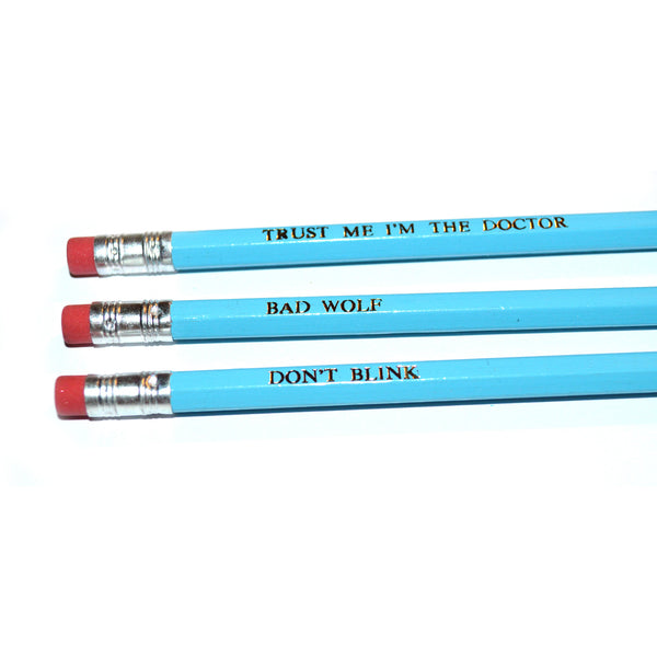 Doctor Who David Tennant Hand Stamped Slogan POPCULT Pencil Set from LA LA LAND