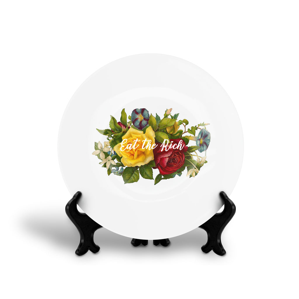 EAT THE RICH aerosmith song lyrics floral slogan dinner plate from LA LA LAND