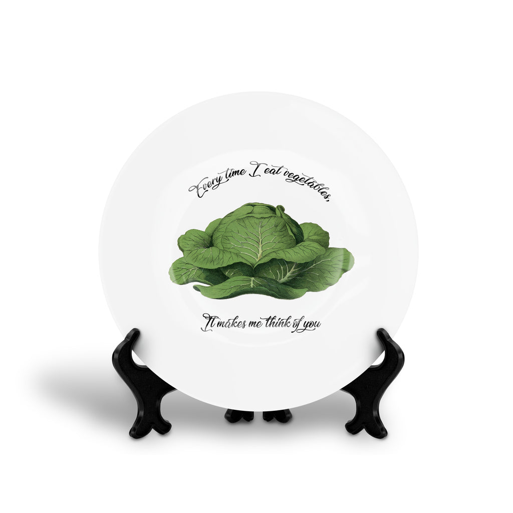 EVERY TIME I EAT VEGETABLES, IT MAKES ME THINK OF YOU by The Ramones song lyrics floral slogan dinner plate from LA LA LAND