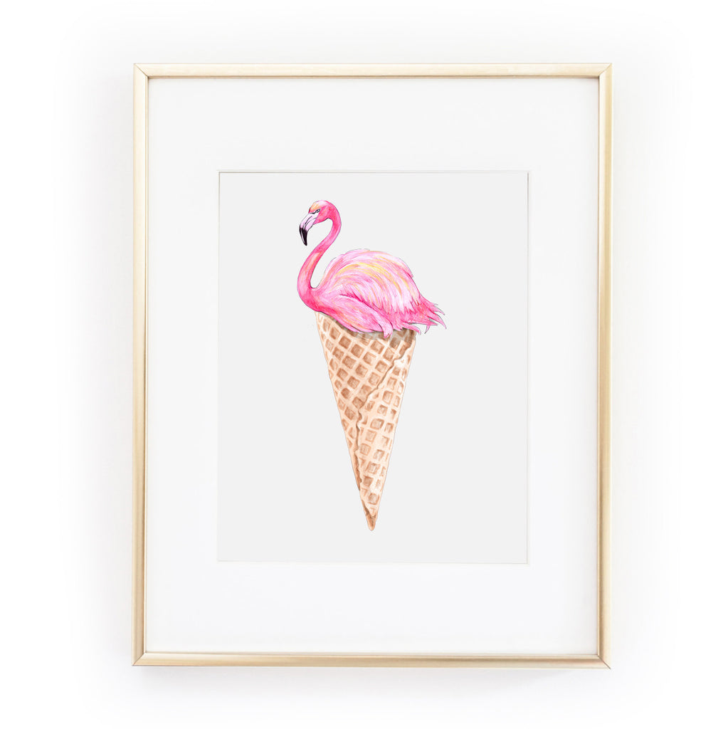 FLAMINGO ICE CREAM a4 art print from LA LA LAND