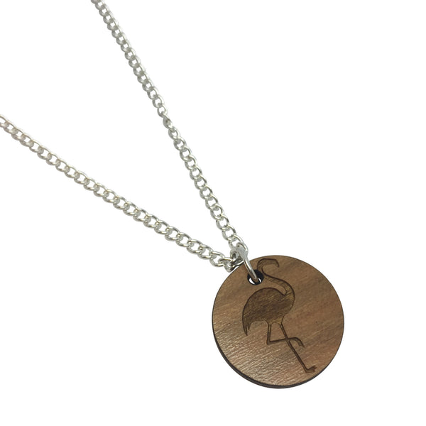 FLAMINGO WOODEN laser cut ENGRAVED etched charm necklace from LA LA LAND