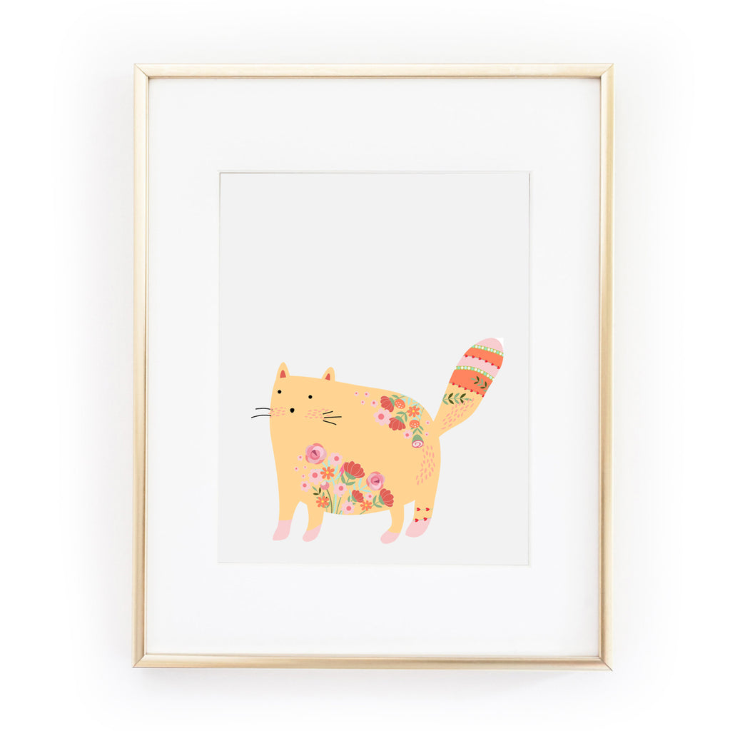 YELLOW FLORAL KITTY ART PRINT