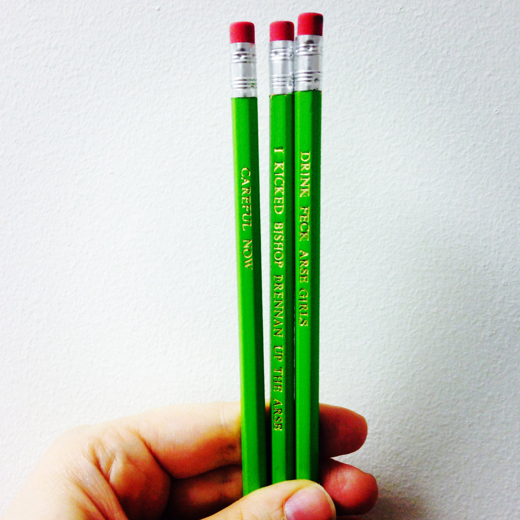 Father Ted Hand Stamped Slogan POPCULT Pencil Set from LA LA LAND