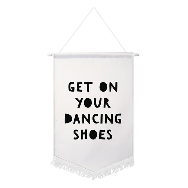 GET ON YOUR DANCING SHOES arctic monkeys WHITE black pennent flag banner from LA LA LAND.jpg
