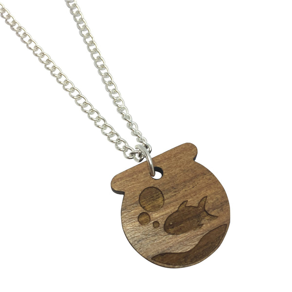 GOLDFISH BOWL WOODEN laser cut ENGRAVED etched charm necklace from LA LA LAND