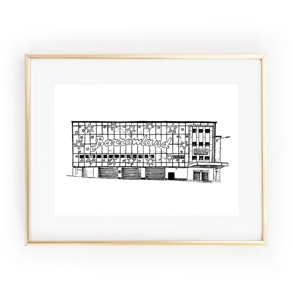 Glasgow Barrowlands Barras gig venue A4 ART PRINT ink drawing sketch illustration by Lola Polooza from LA LA LAND