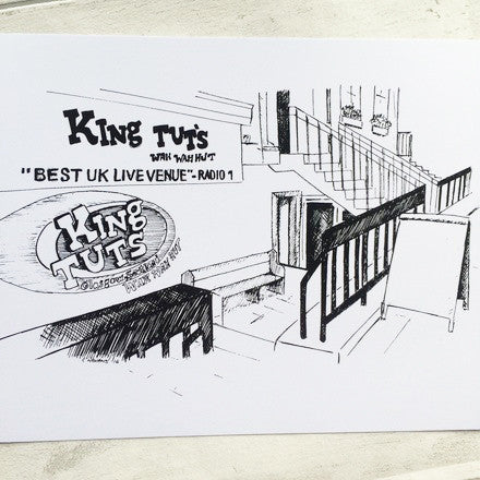 Glasgow KIG TUTS WAH WAH HUT gig venue A4 ART PRINT ink drawing sketch illustration by Lola Polooza from LA LA LAND