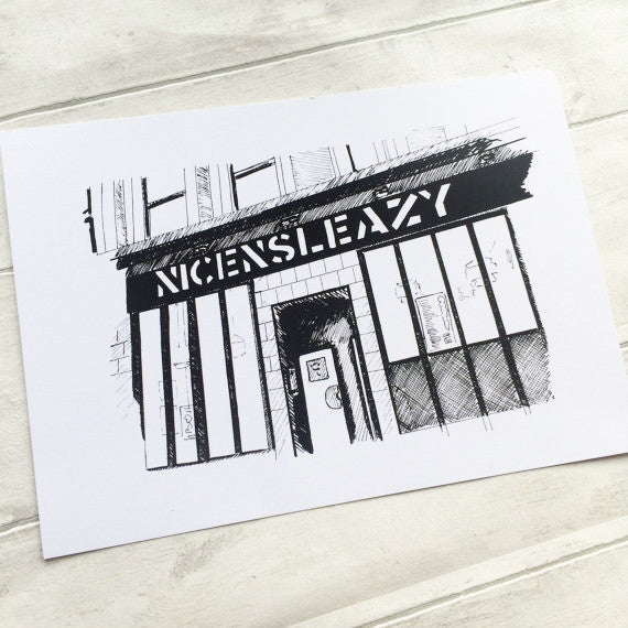 Glasgow NICE N SLEAZY sleazys gig venue A4 ART PRINT ink drawing sketch illustration by Lola Polooza from LA LA LAND