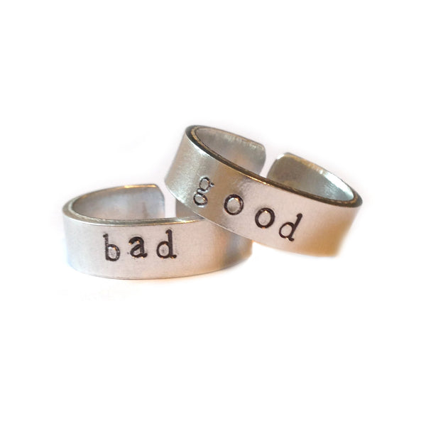 Good and Bad hand stamped ring set from LA LA LAND