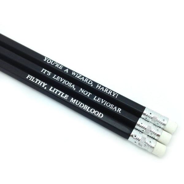 Filthy Little Mudblood Harry Potter hand stamped quote slogan Pencil Set by POPCULT from LA LA LAND