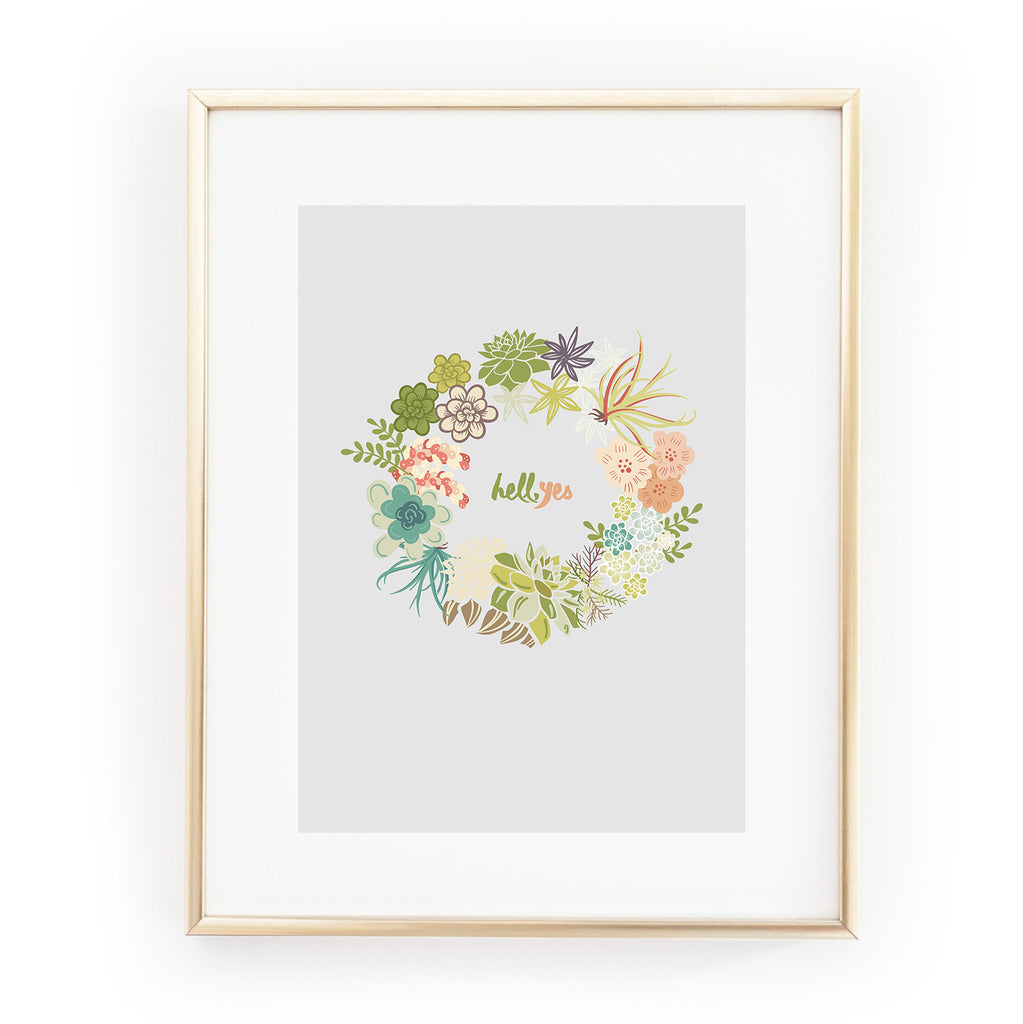 HELL YES floral wreath A4 ART PRINT from LA LA LAND
