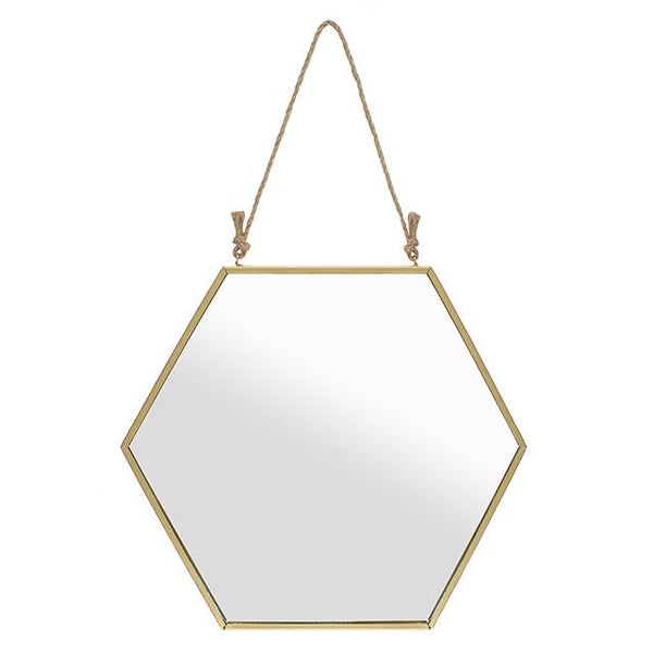 Hanging gold framed hexagonal mirror from LA LA LAND