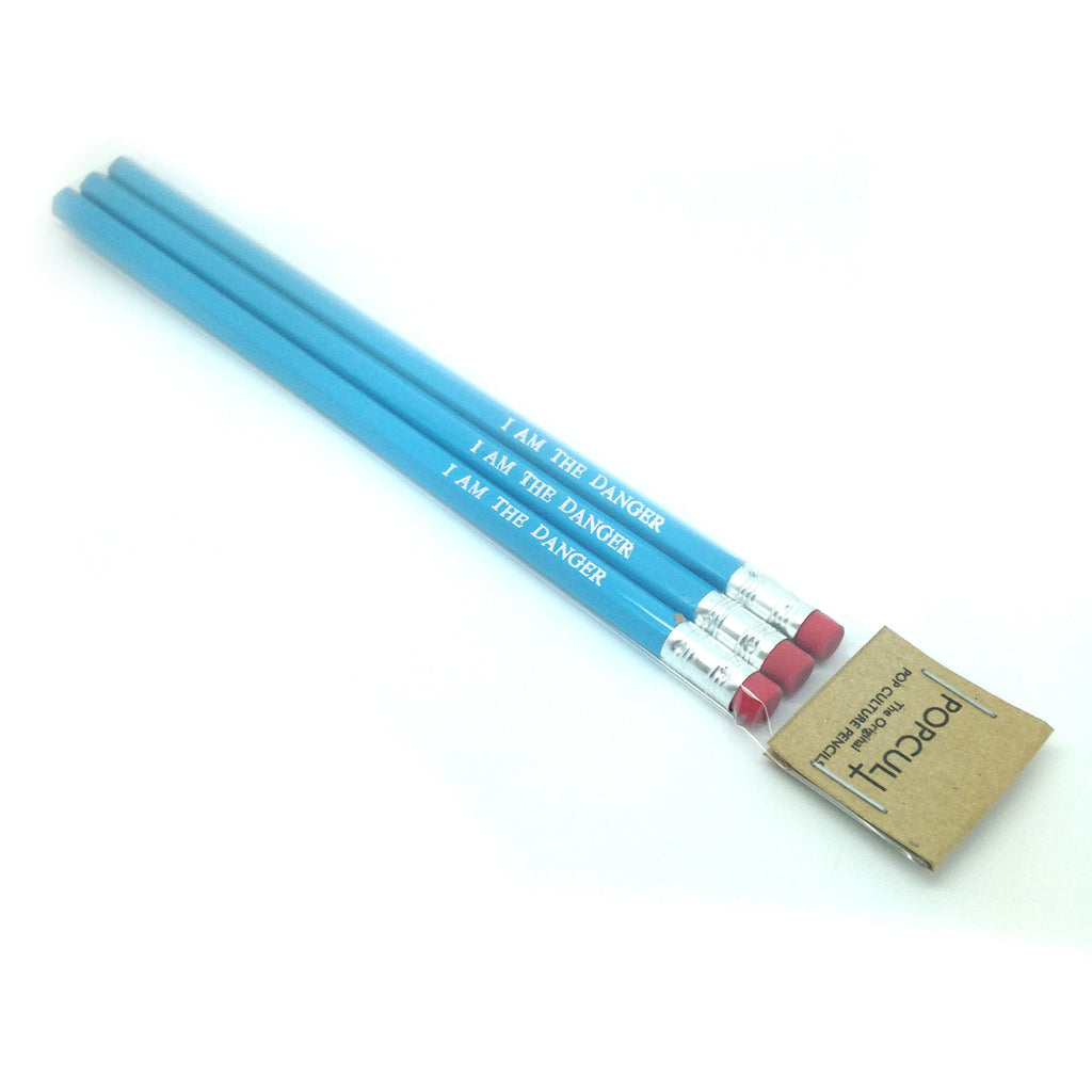 I AM THE DANGER Breaking Bad hand stamped slogan quote pencil sets by POPCULT PENCILS from LA LA LAND