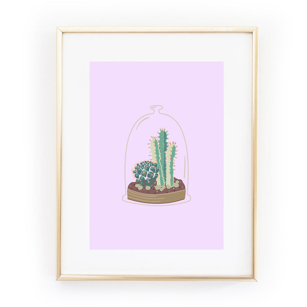 I'LL KEEP YOU SAFE cactus terrarium plants succulent A4 ART PRINT from LA LA LAND