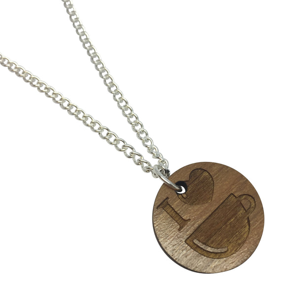 I LOVE TEA WOODEN laser cut ENGRAVED etched charm necklace from LA LA LAND