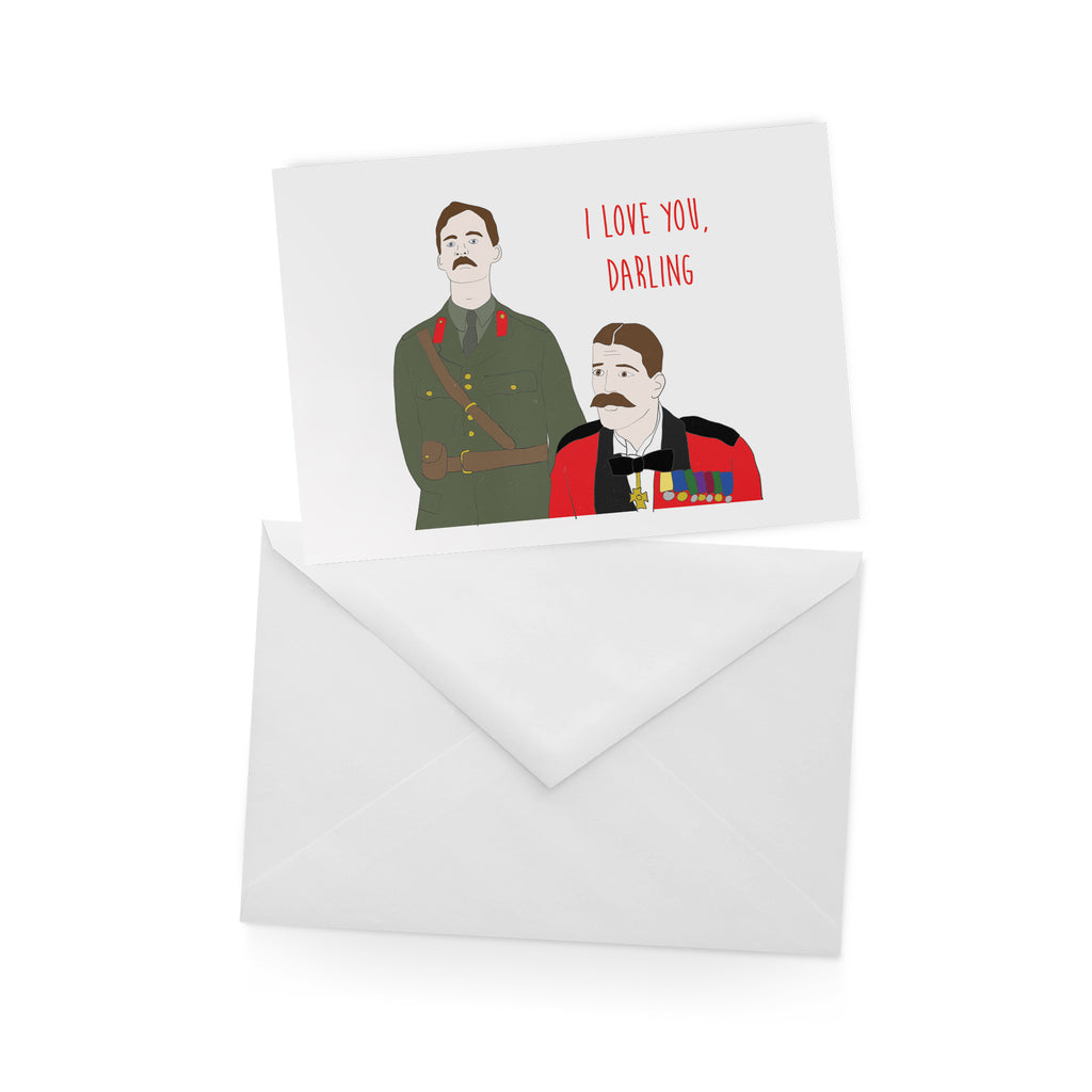 I LOVE YOU DARLING blackadder CAPTAIN DARLING greetings card from LA LA LAND