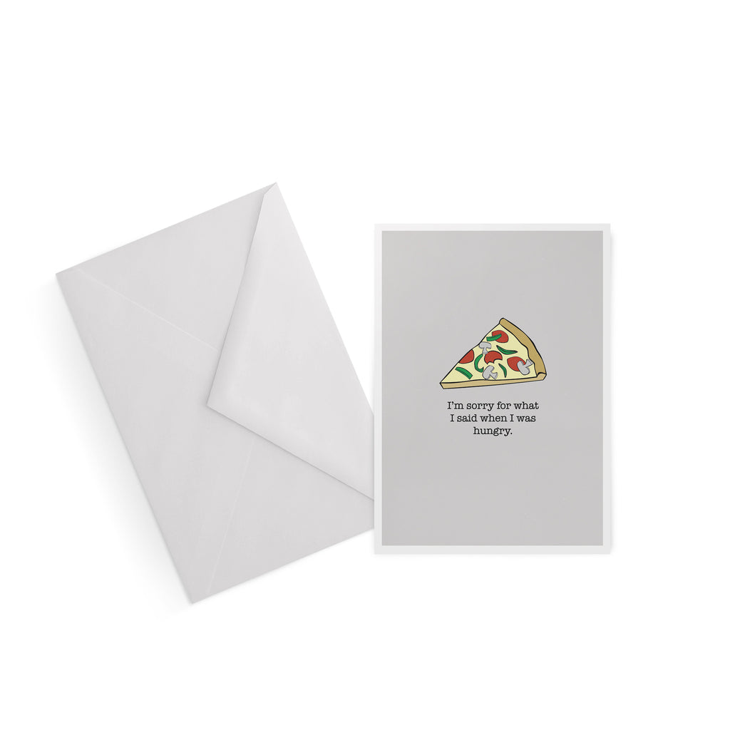 I'm sorry for what I said when I was hungry pizza greetings card from LA LA LAND