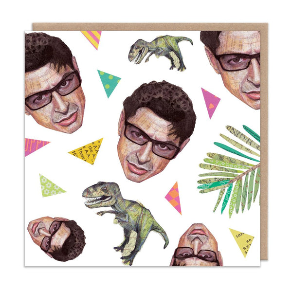 JEFF GOLDBLUM jurassic park dinosaur greetings card by Angie Beal from LA LA LAND