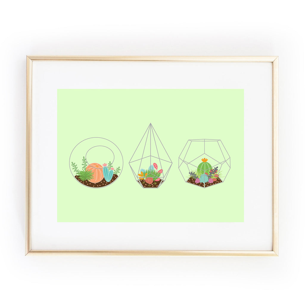 Just the Three Of Us TRIO OF TERRANIUMS succulents plants cactus cactii A4 ART PRINT from LA LA LAND