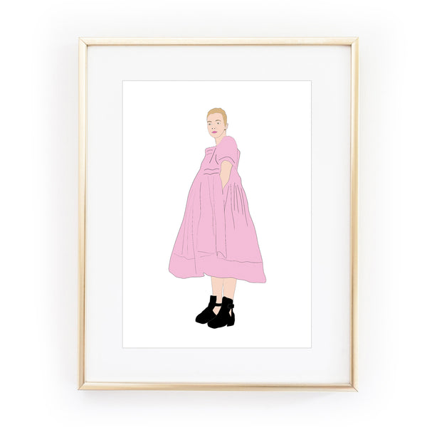 KILLING EVE pink dress art print from LA LA LAND