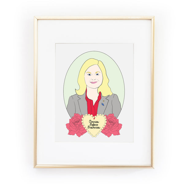 LESLIE KNOPE parks and recreation OVARIES BEFORE BROVARIES art print from LA LA LAND