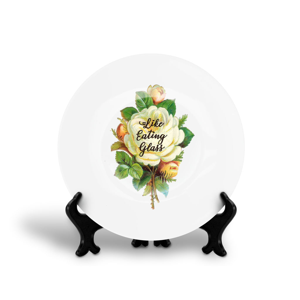 LIKE EATING GLASS bloc party song lyrics floral slogan dinner plate from LA LA LAND