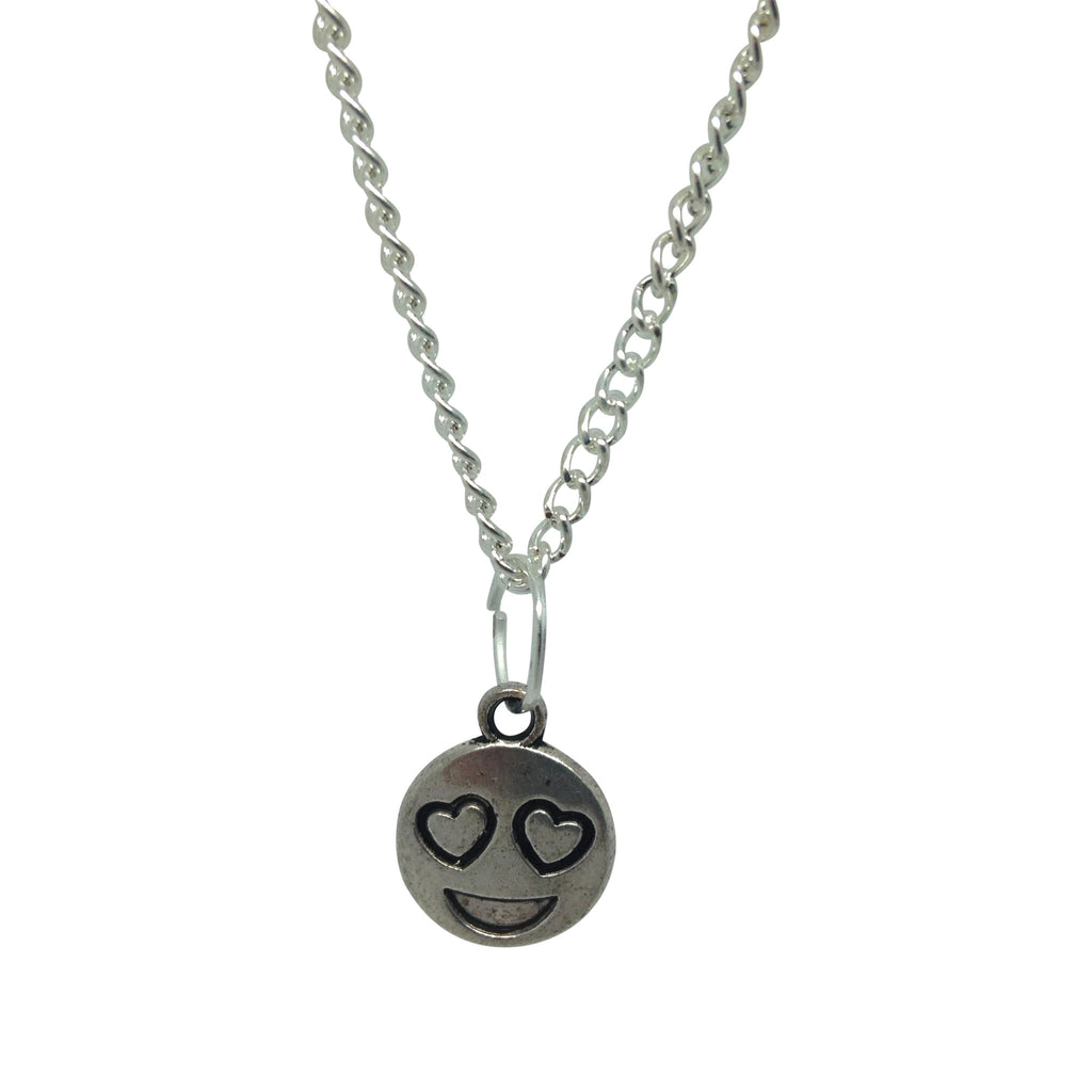 LOVEHEART EYES silver plate emoji necklace from LA LA LAND