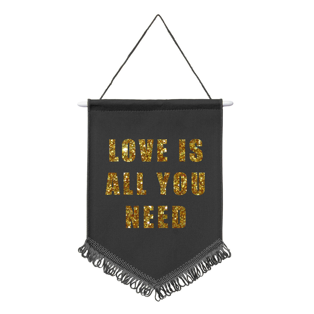 LOVE IS ALL YOU NEED the beatles GOLD GLITTER black pennent flag banner from LA LA LAND