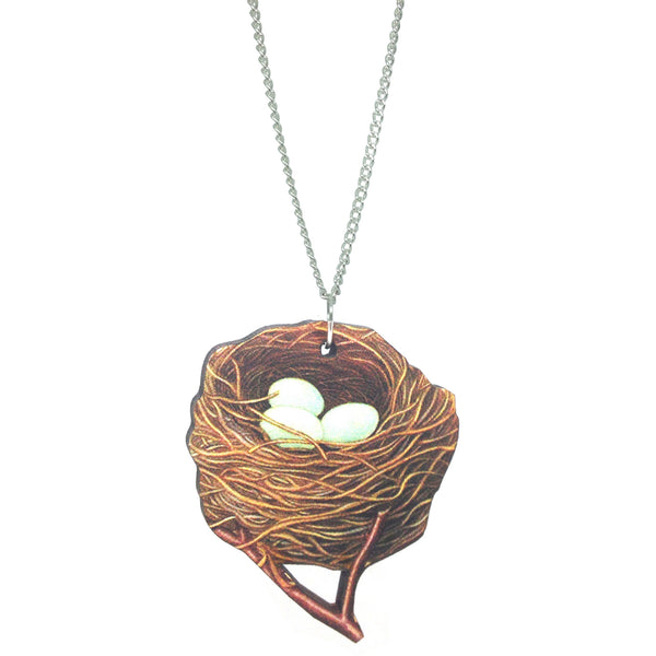 Laser-Cut Wooden kitsch vintage birds nest eggs necklace from LA LA LAND £12