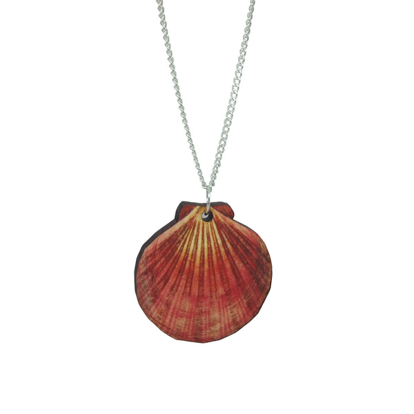 Laser-Cut Wooden kitsch vintage fan shell mermaid pink necklace from LA LA LAND £12