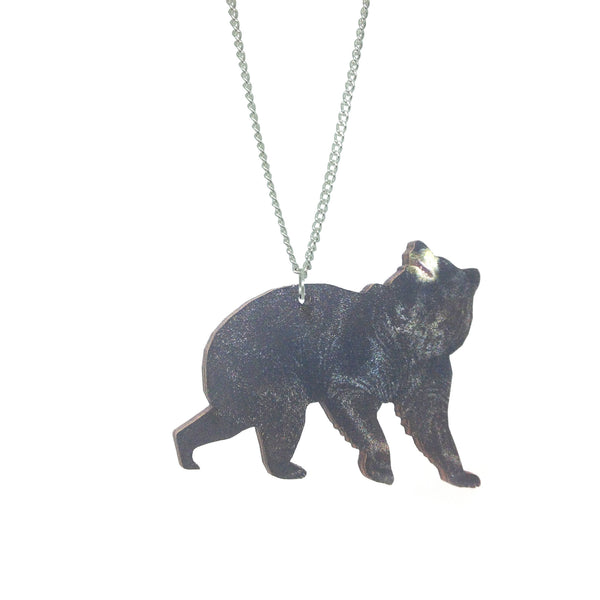 Laser Cut Wooden kitsch black bear necklace from LA LA LAND £12