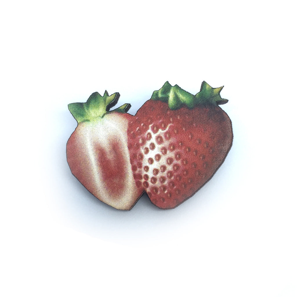 Laser Cut Wooden kitsch strawberry brooch from LA LA LAND £8