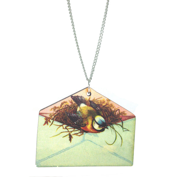 Laser Cut Wooden kitsch vintage bird flower envelope necklace from LA LA LAND £12.00