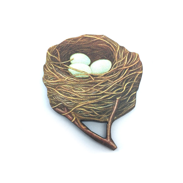 Laser Cut Wooden kitsch vintage birds nest eggs brooch from LA LA LAND £8