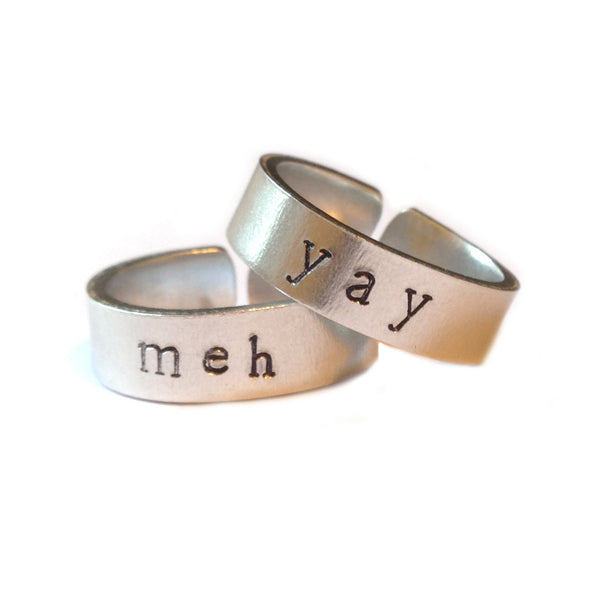 Meh and Yay hand stamped ring set from LA LA LAND