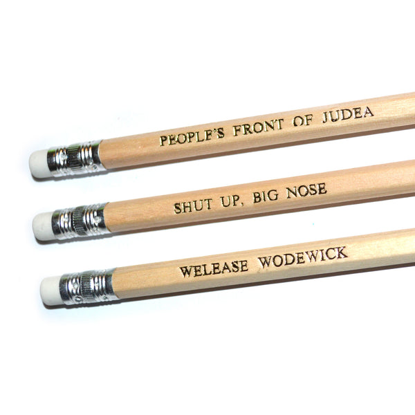 Monty Python's Life of Brian Hand Stamped Slogan POPCULT Pencil Set from LA LA LAND