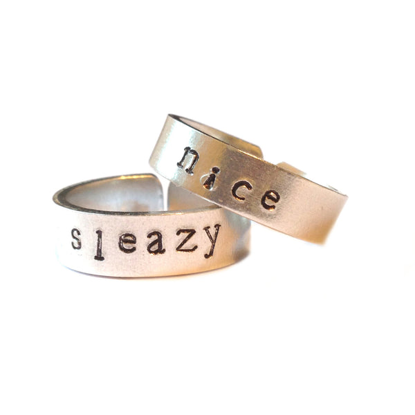 Nice n' Sleazy hand stamped ring set from LA LA LAND