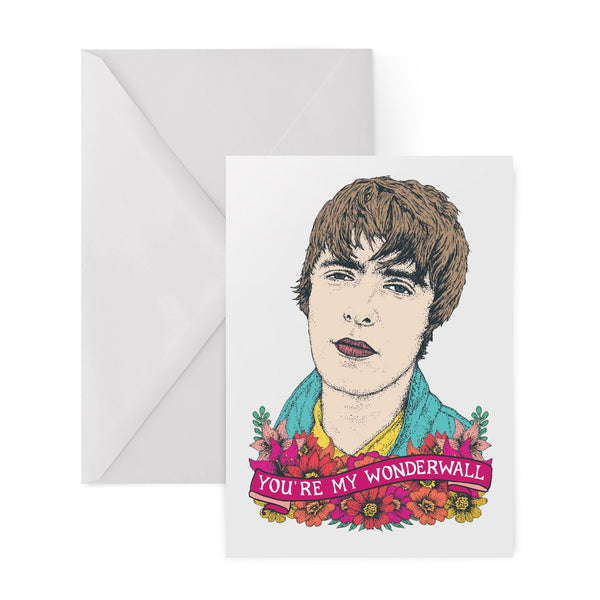 OASIS liam gallagher WONDERWALL BRITPOP 90s greetings card by Lost Plots from LA LA LAND