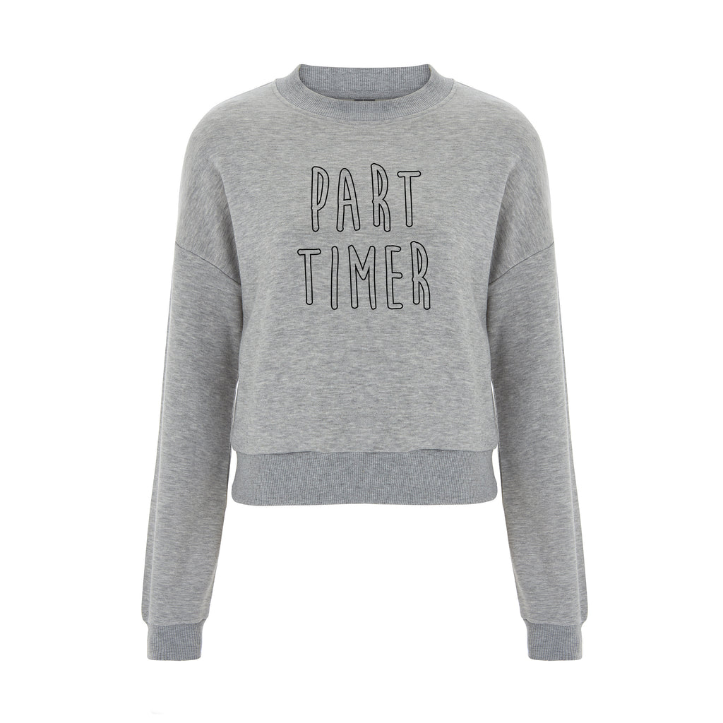 PART TIMER Cropped Grey Sweater