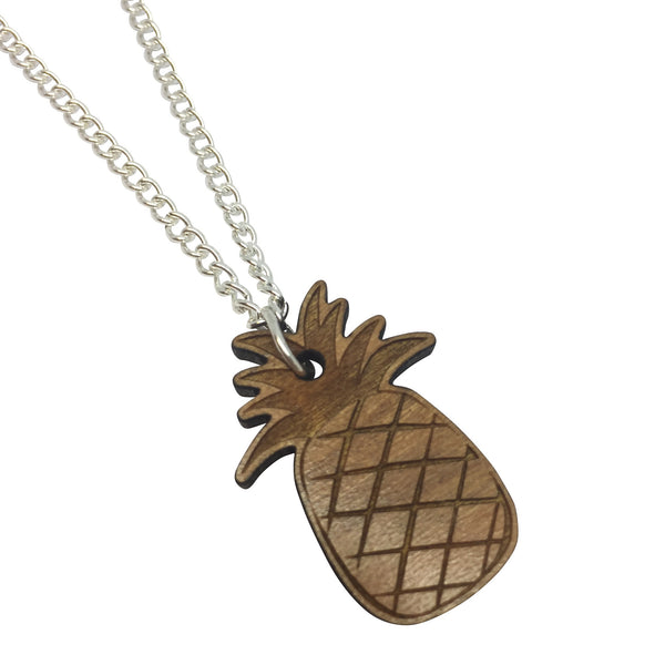 PINEAPPLE WOODEN laser cut ENGRAVED etched charm necklace from LA LA LAND
