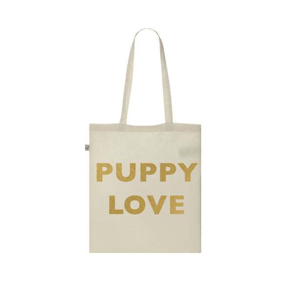PUPPY LOVE gold vinyl tote bag from LA LA LAND