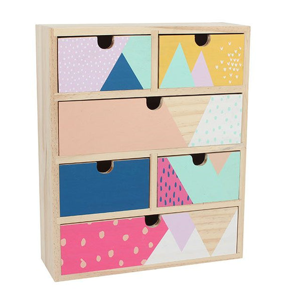 Painted pastel geometric tabletop wooden drawers Desk Tidy from LA LA LAND