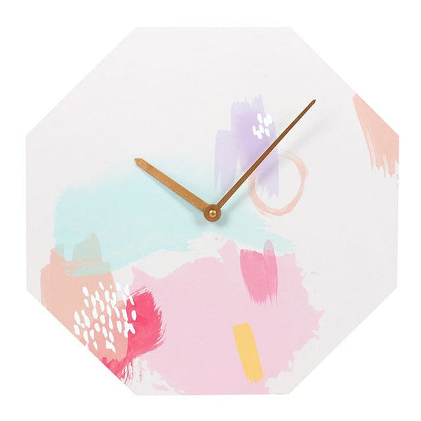 Painted wooden hexagonal pastel clock from LA LA LAND