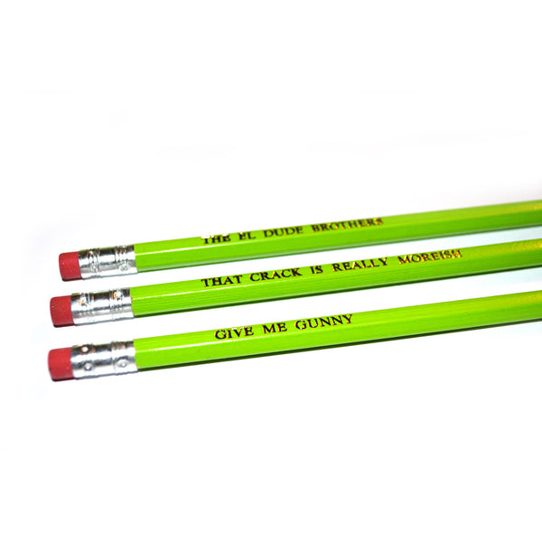 Peep Show Hand Stamped Slogan POPCULT Pencil Set from LA LA LAND