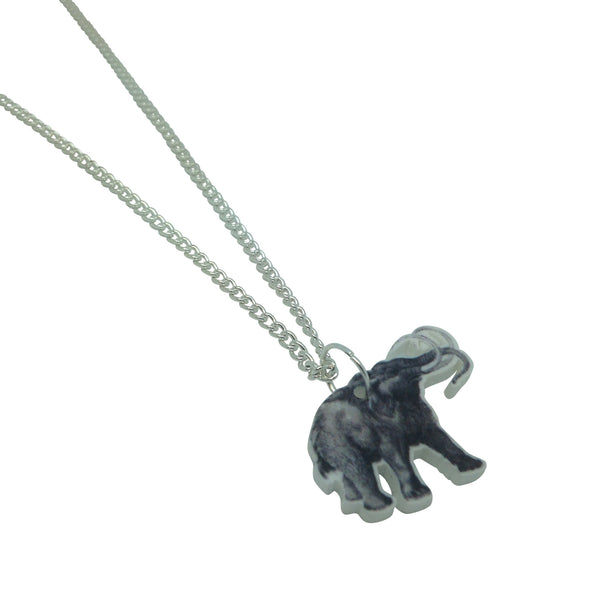 Printed acrylic laser cut vintage illustration wooly mammoth Necklace from LA LA LAND